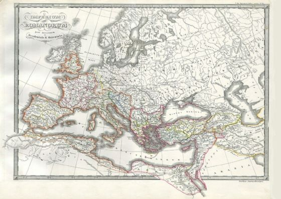 1850 Map of the Roman Empire as Divided into East and West (Ancient Rome) Antique/Vintage Map. Fine Art Print/Poster. Sizes: A4/A3/A2/A1 (004184)